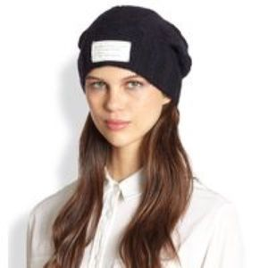 Marc by Marc Jacobs navy cable knit hat logo NEW